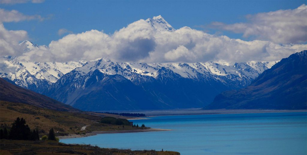 Blue photo of Mount Cook with Lake Pukaki in the foreground