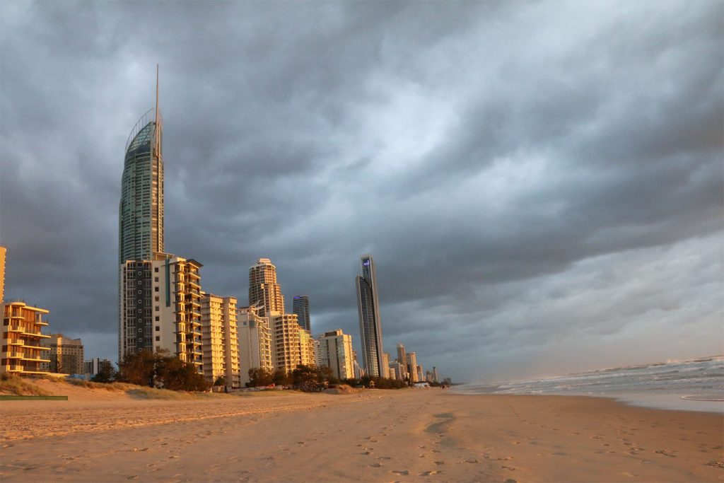 surfers paradise buildings and sand in early morning light
