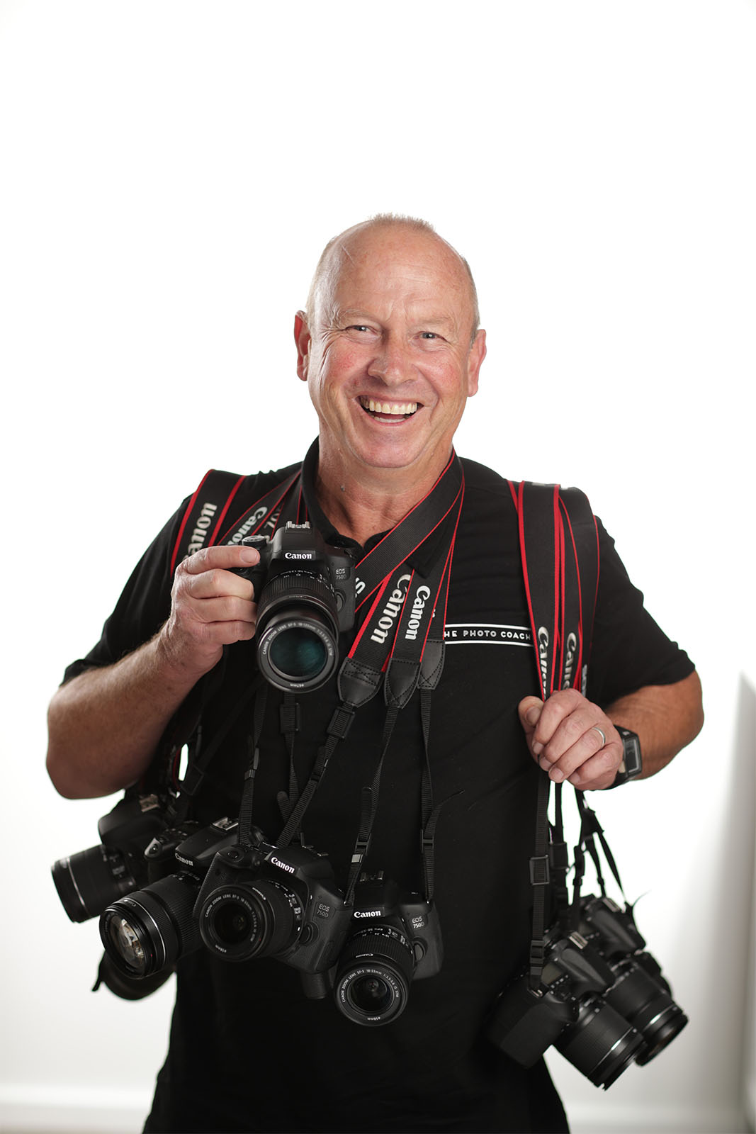 man with ten cameras around his neck.
